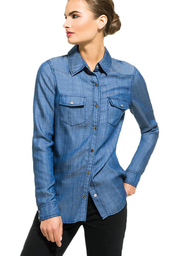 jeans the chambray shirt en toile de jean livraison gratuite sur justfab. Black Bedroom Furniture Sets. Home Design Ideas