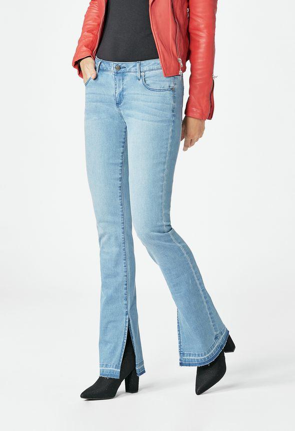 870051a0d6fe Kläder Side Slit Bootcut i ORIGINAL BLUE - Fantastiska erbjudanden hos  JustFab
