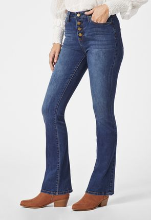 c341f050874b High Waisted Button Front Boot Cut Jeans ...