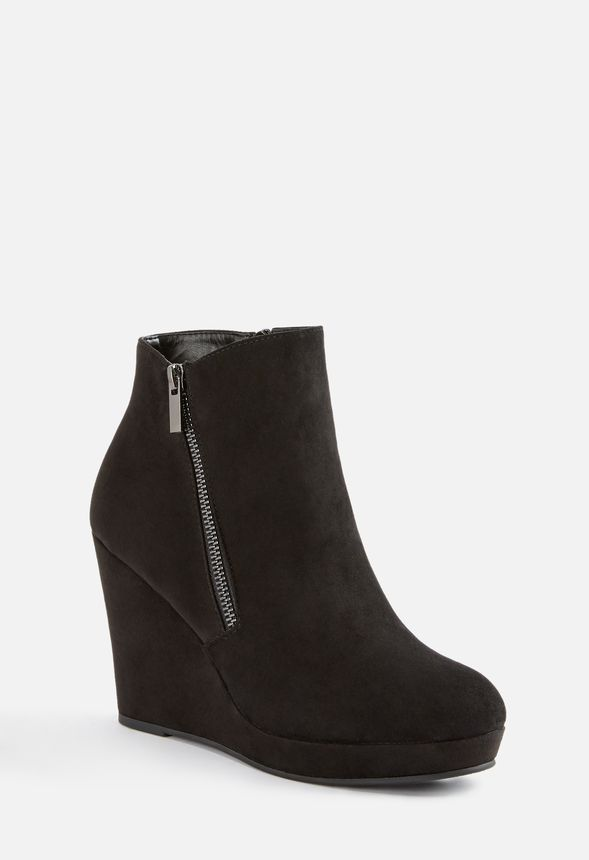chaussures jessy zip up wedge bootie en noir livraison gratuite sur justfab. Black Bedroom Furniture Sets. Home Design Ideas