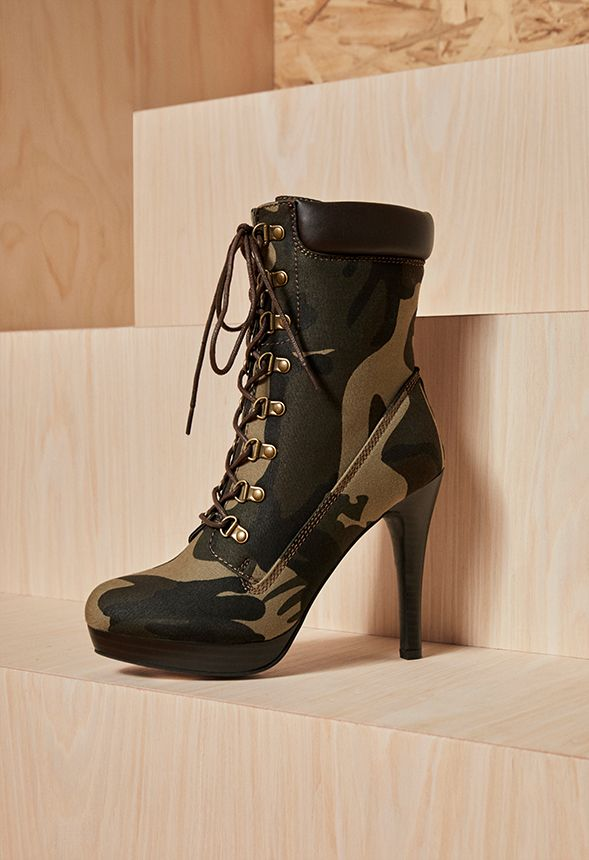 8acd0dca56e4 Daylene Lace-up Stiletto Ankle Boot Shoes in Camouflage - Get great ...