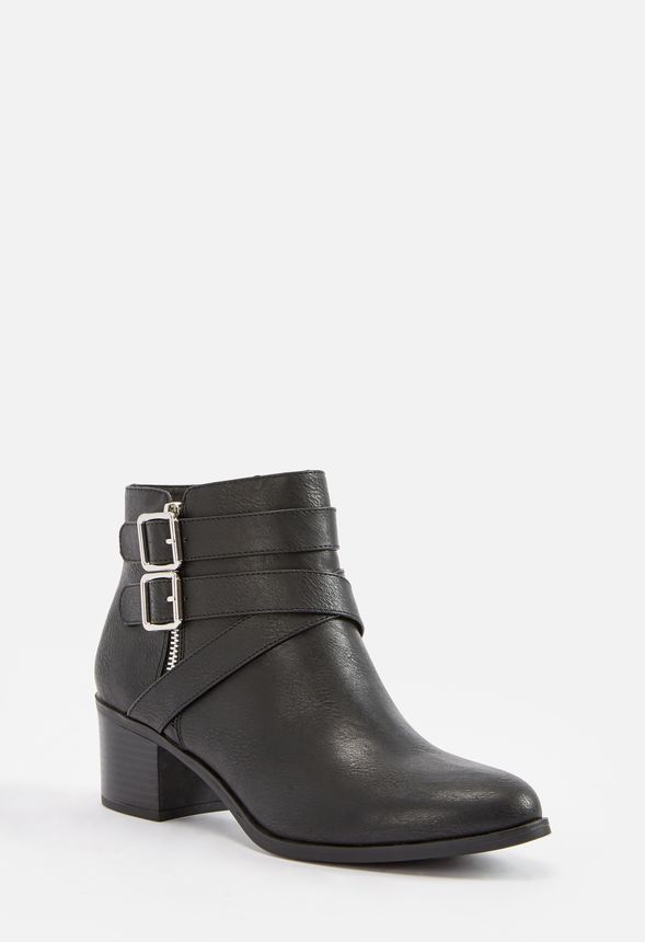 676860a42c0c Valerie Block Heel Buckle Ankle Boot Shoes in Black - Get great ...