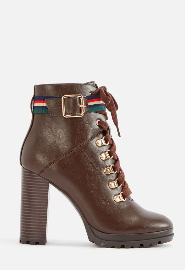 chaussures ribonea lace up platform bootie en marron livraison gratuite sur justfab. Black Bedroom Furniture Sets. Home Design Ideas