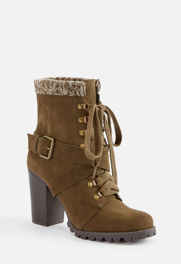 1519f5e4246 Bethany Lace-Up Sweater Cuff Ankle Boot Shoes in Olive - Get great ...