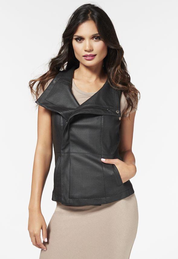 perforated pu vest kleidung in schwarz g nstig kaufen bei justfab. Black Bedroom Furniture Sets. Home Design Ideas