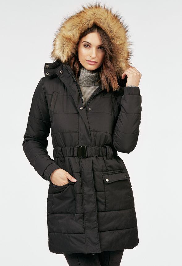 long line belted puffer coat kleidung in schwarz g nstig kaufen bei justfab. Black Bedroom Furniture Sets. Home Design Ideas