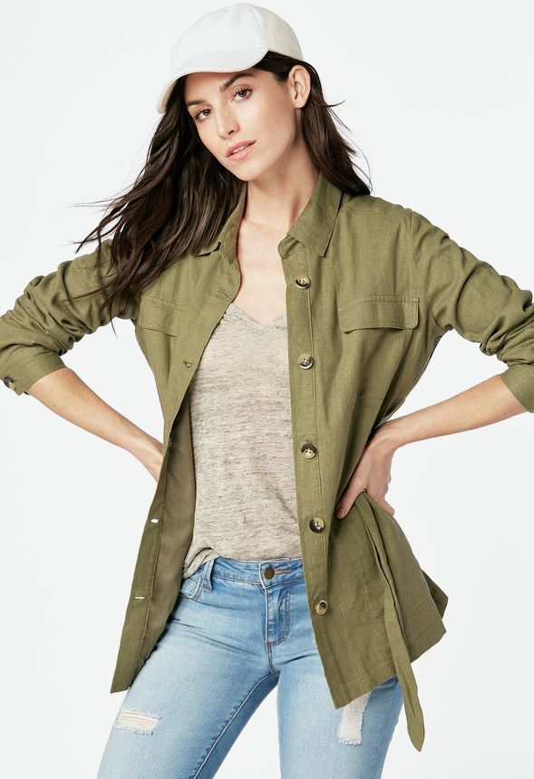283578eb3b8cc3 Linen Safari Jacket Kleidung in olive - günstig online kaufen im JustFab  Shop Deutschland