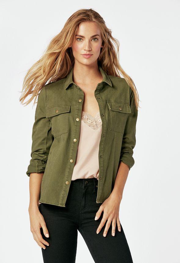 Boutonnée Sur Olive En Gratuite Clover Veste Vêtements Livraison HFwvq6n