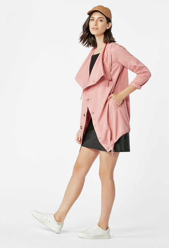 v tements draped button up jacket en pink mauve livraison gratuite sur justfab. Black Bedroom Furniture Sets. Home Design Ideas