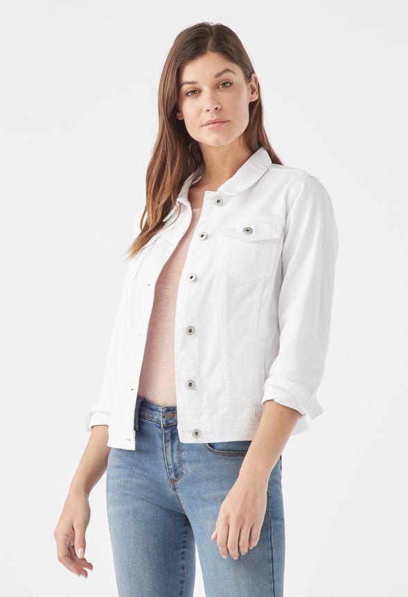 Tøj Slim Trucker Jacket i Hvid Shop fabelagtige deals hos