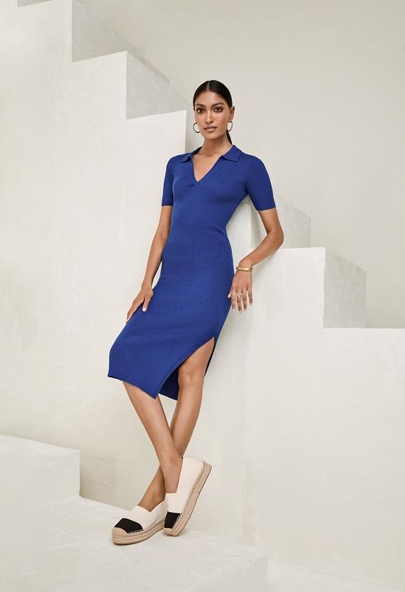 Geripptes Kleid Mit Kragen Kleidung In Classic Blue Gunstig Online Kaufen Im Justfab Shop Deutschland