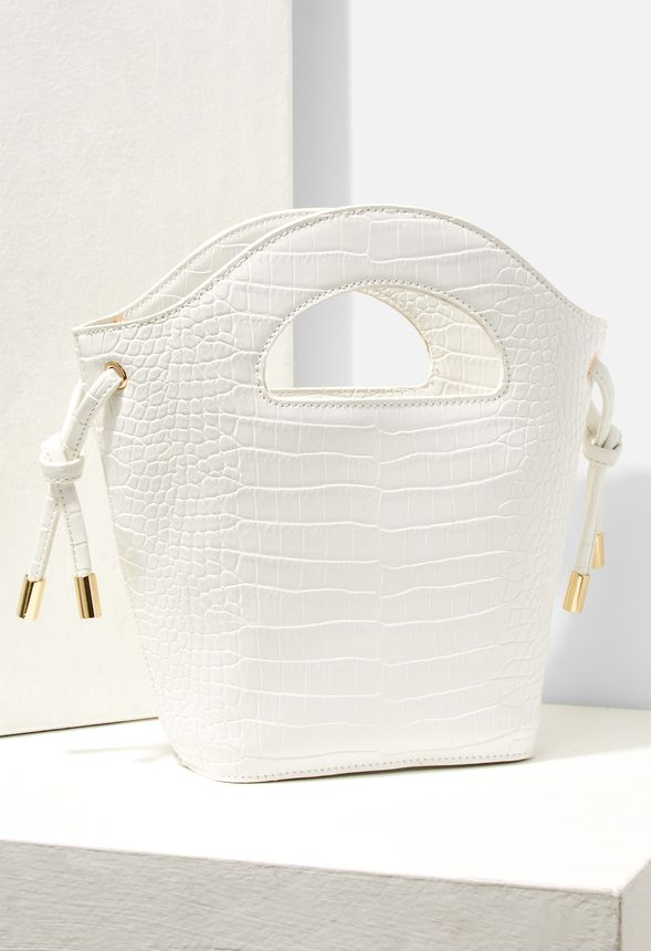 Väskor Cutout Handle Crossbody Bag i WHITE CROC