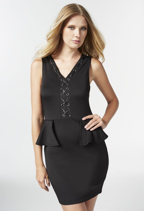 LACE UP PEPLUM DRESS