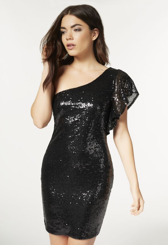9ac6aef523f One Shoulder Sequin Dress Clothing in Black - Get great deals at JustFab