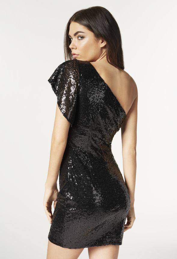 one shoulder sequin dress kleidung in schwarz g nstig kaufen bei justfab. Black Bedroom Furniture Sets. Home Design Ideas