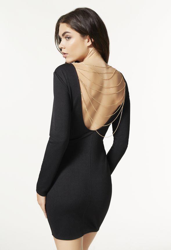 back chain bodycon dress kleidung in schwarz g nstig kaufen bei justfab. Black Bedroom Furniture Sets. Home Design Ideas