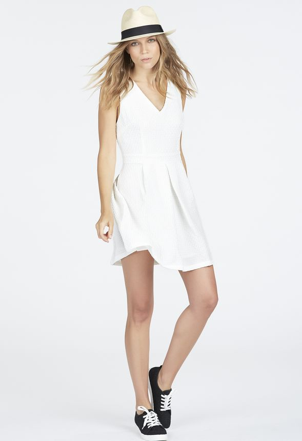 ff8f9b958b0 V-Neck Fit and Flare Dress Clothing in White - Get great deals at JustFab