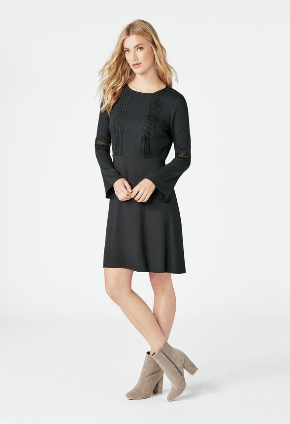 a8190fb2ac3c Bell Sleeve Midi Dress Clothing in Black - Get great deals at JustFab