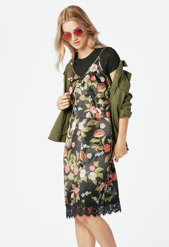 5942b207011 Satin Slip Dress Clothing in Black Multi - Get great deals at JustFab