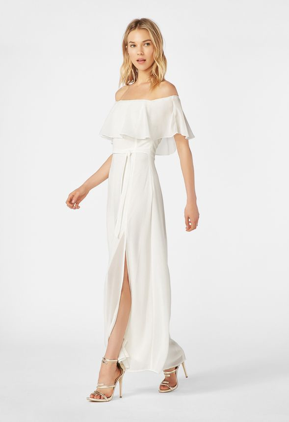 aaa85d1eb6a0 Off Shoulder Maxi Dress Clothing in White - Get great deals at JustFab