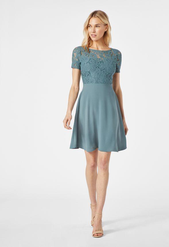 a2c91387747d Kurzärmliges Spitzenkleid Kleidung in GOBLIN BLUE - günstig online ...