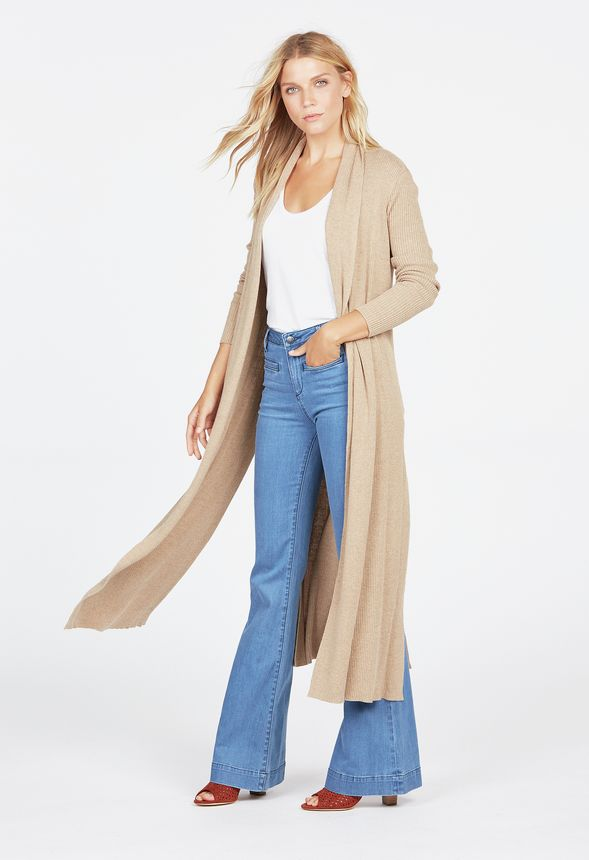 ribbed longline cardigan kleidung in heather cappuccino. Black Bedroom Furniture Sets. Home Design Ideas