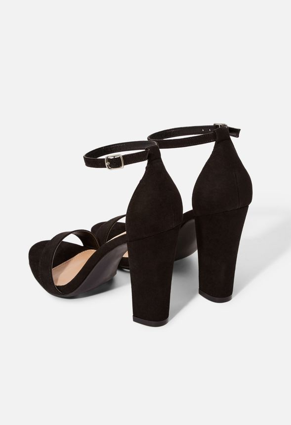 Wide Us 7 Sandals Dress Heeled Black Justfab In Size Makemba