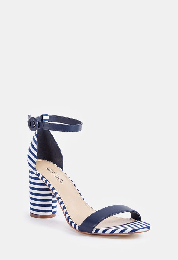 85319853f8a Jacey Cylinder Heeled Sandal Shoes in STRIPE - Get great deals at ...
