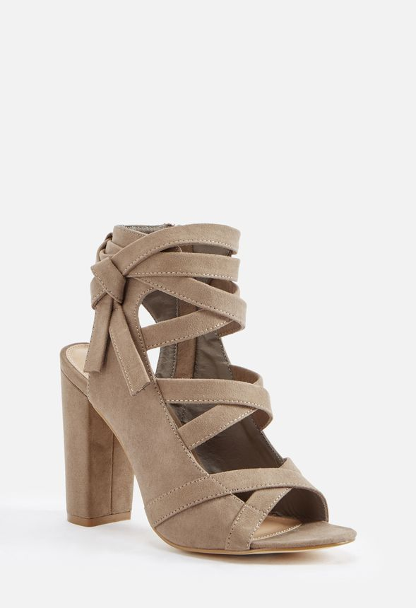 At Davina Taupe Great Justfab Get Deals Heeled Sandal In Shoes WEH2I9D