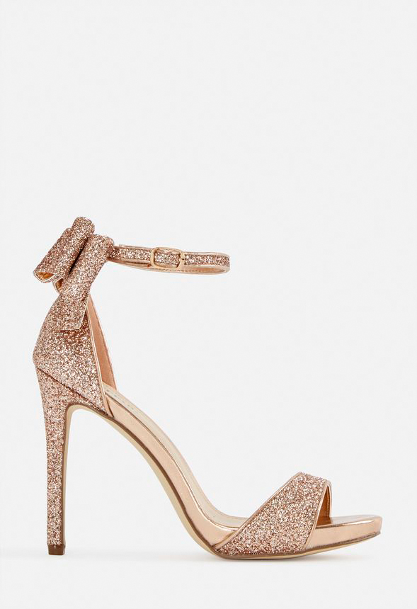 4716785711 Rockelle Bow Heeled Sandal Shoes in Rose Gold - Get great deals at JustFab