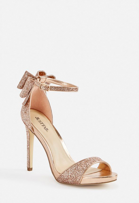b55799d9da Rockelle Bow Heeled Sandal Shoes in Rose Gold - Get great deals at ...