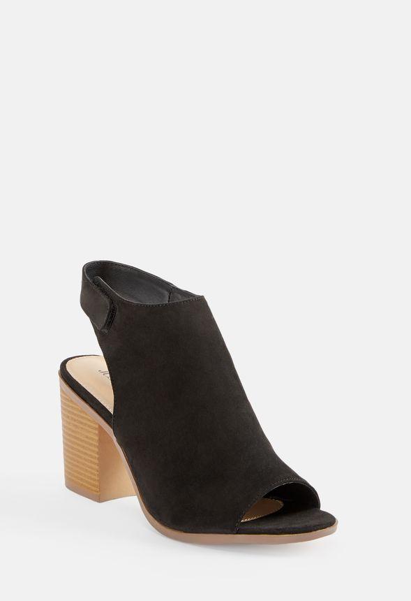 Zapatos Gratuito Eryn En Envío Justfab Peeptoe Botines Negro QdsthrC