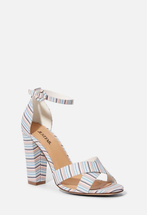 Olivia Stripe Carrés 5lr4a3j En À Sandales Pastel Chaussures Talons y6fb7g