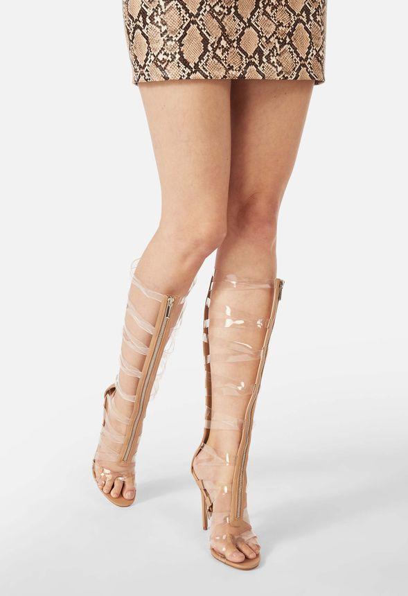 Skor Kierstin Clear Gladiator Sandal i Beige Fantastiska