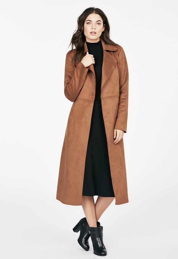fa271be0f3e Faux Suede Maxi Coat Clothing in CARAMEL - Get great deals at JustFab