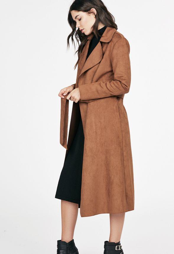 Faux Suede Maxi Coat