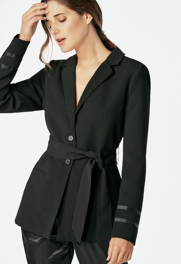 Long Belted Blazer Clothing in Black