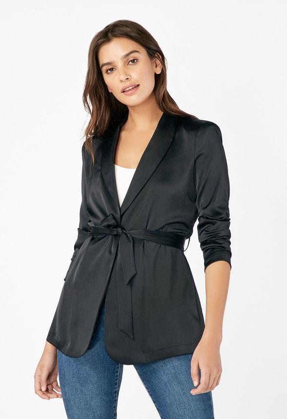 choisir officiel San Francisco prix d'usine Vêtements Blazer en satin avec ceinture en Noir - Livraison ...