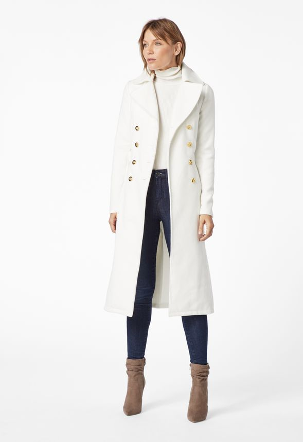 Vêtements Trench coat long imitation laine en Soft White