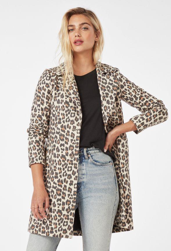 Einreihiger Mantel im Leo Print Kleidung in Leopard