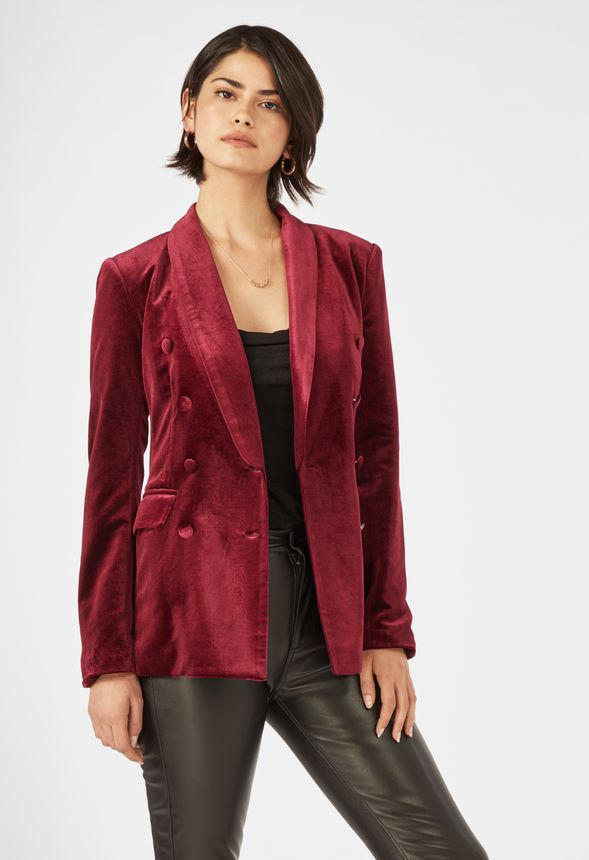 Rubber Student Meeting  Oversized Velvet Blazer Clothing in Dark Red - Get great deals at JustFab