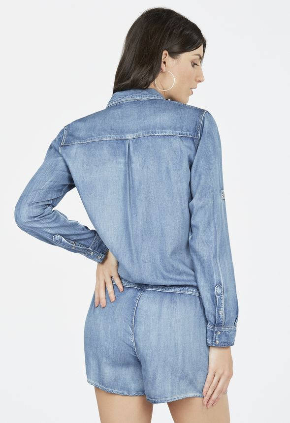v tements chambray shirt jumpsuit en malibu livraison gratuite sur justfab. Black Bedroom Furniture Sets. Home Design Ideas