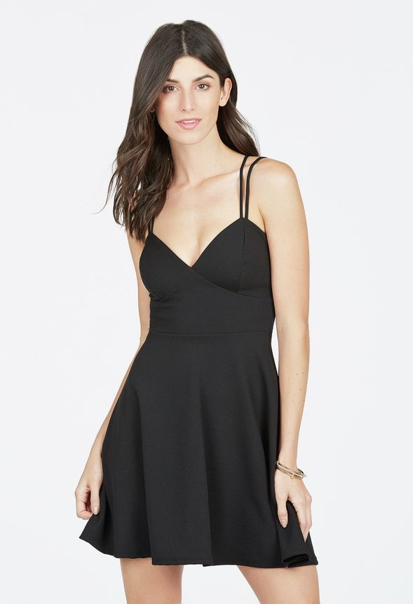 double strap spaghetti dress kleidung in schwarz g nstig. Black Bedroom Furniture Sets. Home Design Ideas