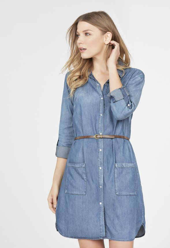 v tements pocket chambray dress en malibu livraison gratuite sur justfab. Black Bedroom Furniture Sets. Home Design Ideas