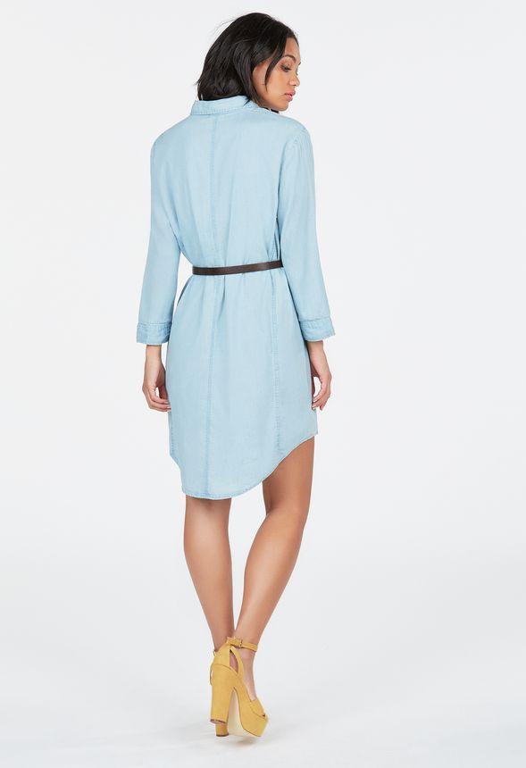 V tements chambray belted shirt dress en blue cloud for Belted chambray shirt dress