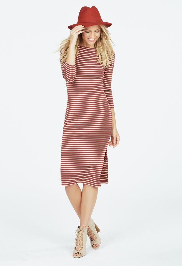Boatneck Side Slit Dress