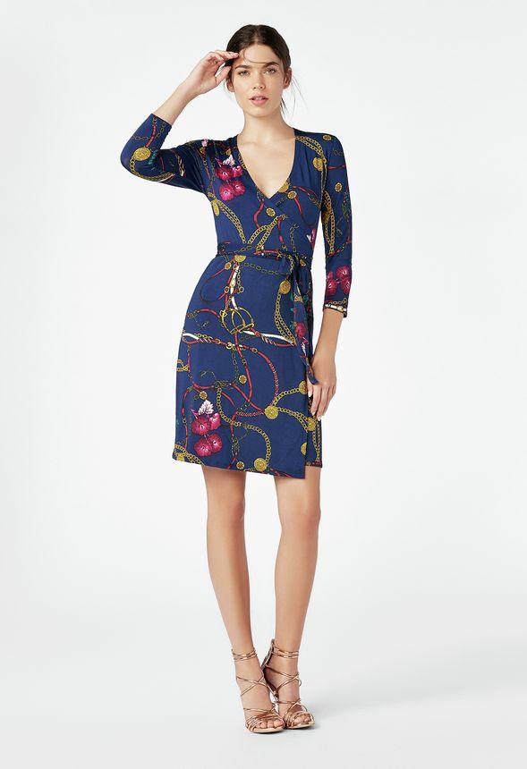 9c1edafcf74f Kläder Printed Wrap Dress i Indigo Multi - Fantastiska erbjudanden hos  JustFab