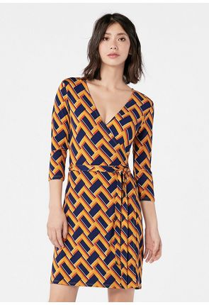 a5e581754 Vestidos cortos. 3 4 Sleeve Wrap Dress ...