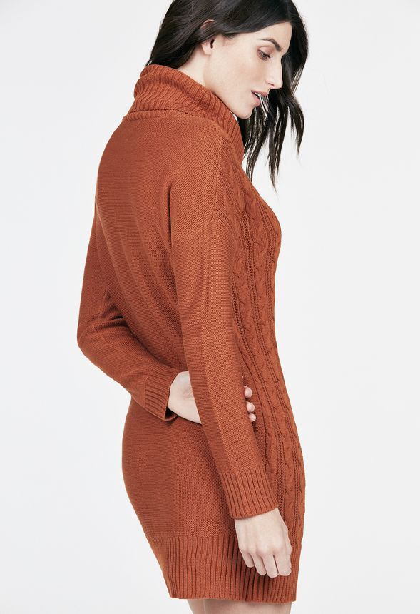 5fac7db2752 Relaxed Cable Knit Sweater Dress Clothing in CARAMEL - Get great ...