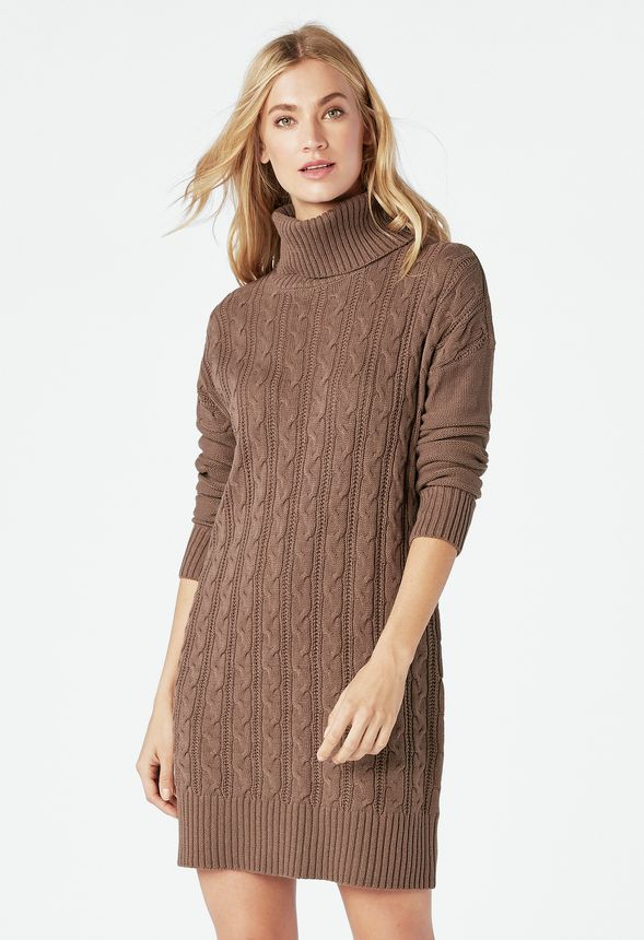 9be6e63b3e2 Relaxed Cable Knit Sweater Dress Clothing in CHOCOLATE CHIP - Get great  deals at JustFab